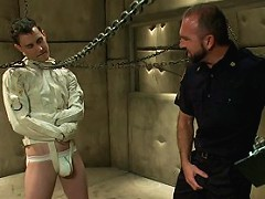 The Sex Addict with the nine inch cock fucks with the innocent security guard.