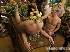 Nordic hunk humiliated and bukkake in a flower shop.