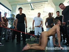 Muscle stud Adam Knox gets tied up and humiliated at the local gym.